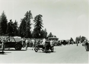 Old car club in Crater Lake NP, 1951