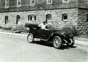 Old Car Club Member in front of the Lodge in Crater Lake NP, circa 1951