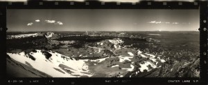 Panoramic view from Mount Scott Lookout in Crater Lake NP, 1936 2