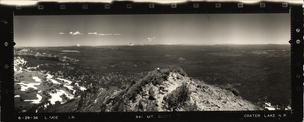 Panoramic view from Mount Scott Lookout in Crater Lake NP, 1936 3