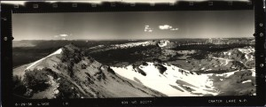 Panoramic view from Mount Scott Lookout in Crater Lake NP, 1936