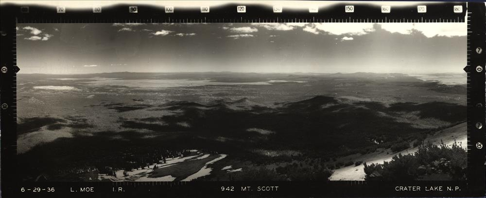 Panoramic view from Mount Scott Lookout in Crater Lake NP, 1936 4