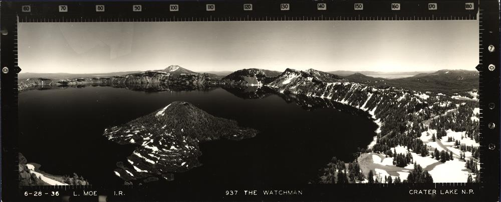 Panoramic view from the Watchman Lookout in Crater Lake NP, 1936 2