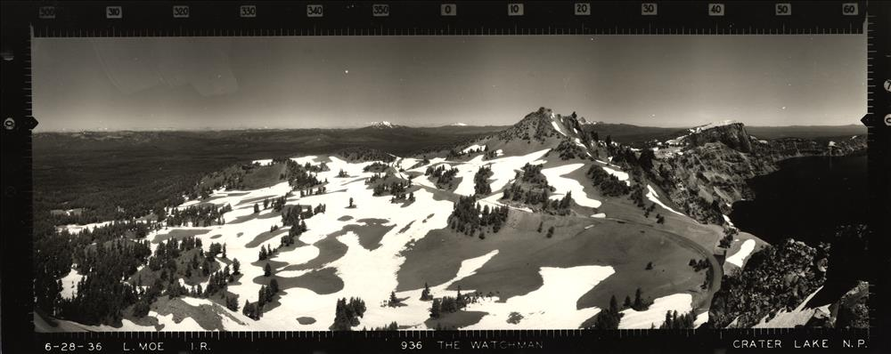 Panoramic view from the Watchman Lookout in Crater Lake NP, 1936 3