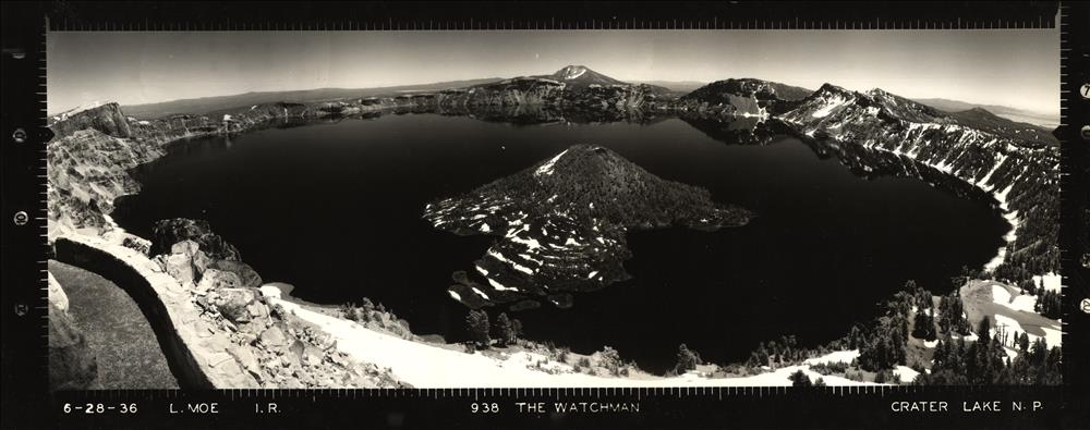 Panoramic view from the Watchman Lookout in Crater Lake NP, 1936 4