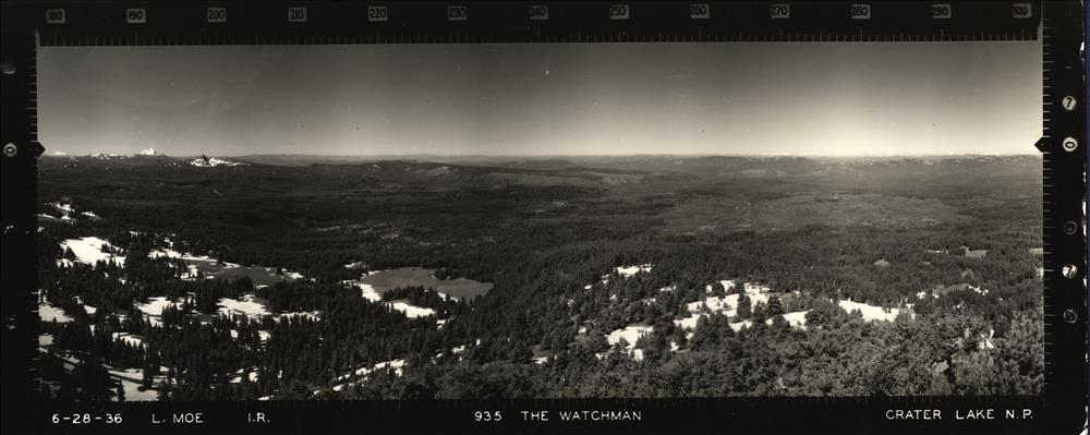 Panoramic view from the Watchman Lookout in Crater Lake NP, 1936