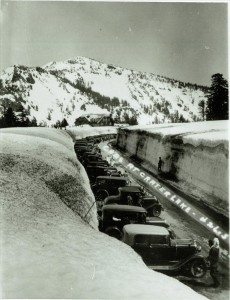 Parking for Winter Carnival in Crater Lake NP, circa 1933 Hartell Collection