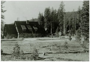 Parking lot in back of the Administration Building in Crater Lake NP, circa 1938