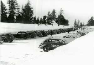 Parking on winter weekend in Crater Lake NP, circa 1948 Guy Hartell photo Hartell Collection
