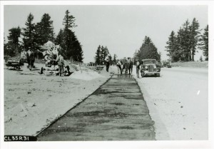 Paving a walkway in Rim Village in Crater Lake NP, 1935
