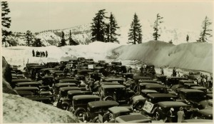 Perhaps a ski tournament in Crater Lake NP, 1920s