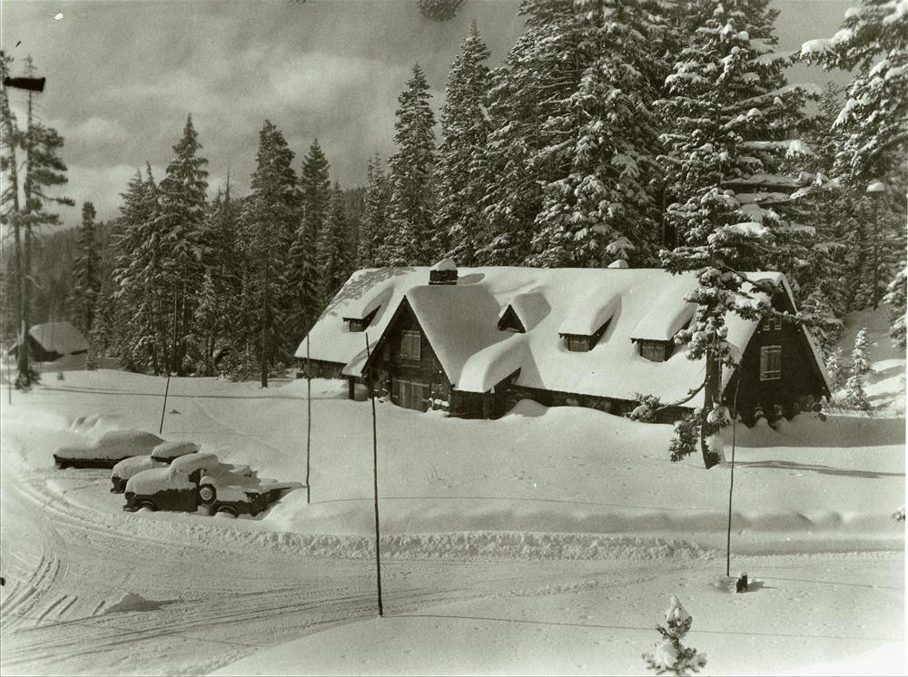 Ranger Dormitory (Steel Center) in Crater Lake NP, 1959 B.W. Black photo