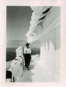 Ranger Rudy Lueck at Watchman Lookout in Crater Lake NP, 1936