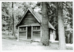 Restroom in Rim Campground in Crater Lake NP, circa 1935. Demolished in 1990