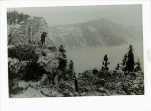 Road location work in Crater Lake NP, 1918 GV Robinson collection