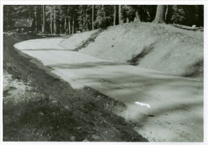 Road to old Sleepy Hollow in Crater Lake NP, circa 1935