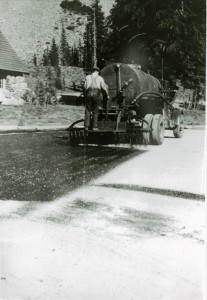 Seal coat on roadway at headquarters in Crater Lake NP, circa 1938