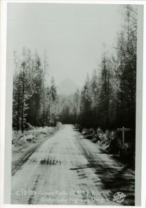 Section of Hwy 62 showing Union Peak hwy 62 Photographer Sawyer Scenic Photos (from postcard) ca. 1930 Kidd Collection