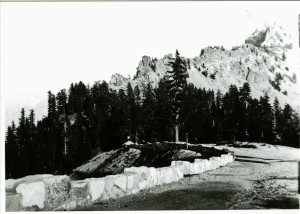 Section of promenade wall east of Crater Lake Lodge, 1932