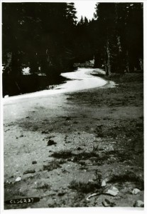 Serpentine residential road in stone house area in Crater Lake NP, 1937