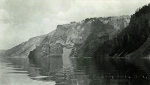 Shoreline view of Crater Lake -looking toward Sentinel Rock, 1908 Dewey Huffman photo