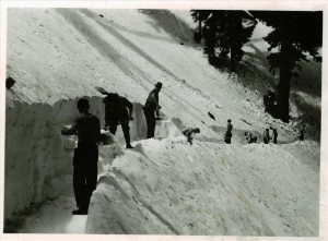 Shoveling snow from lake side trail in Crater Lake NP, 1951