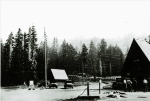 Shows relocation of road in relation to administration building, shelter cabin, and weather station in Crater Lake NP, circa 1930