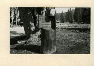 Sign posted between Admin bldg. and Ranger Dorm at foot of residential road in Crater Lake NP, circa 1937 Francis Lange