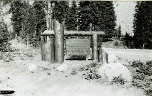 Sign to Entrance to Park Headquarters in Crater Lake NP, 1936 - CCC Project