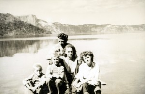"""Crater Lake 1947 Lloyd Larry Bonnie Rose Elmer"" This was our first trip to Crater Lake and we walked the 1.6 mile trail. I still remember it well."