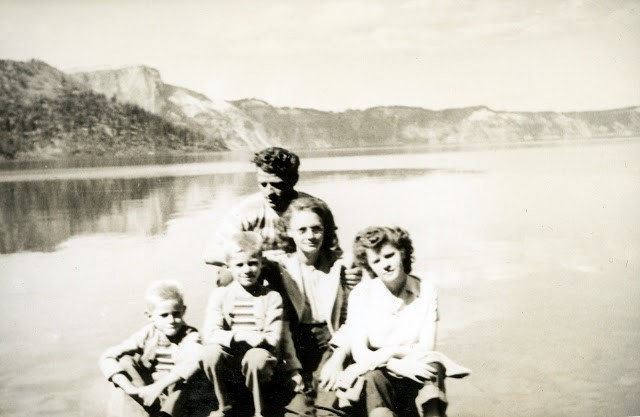 """""""Crater Lake 1947  Lloyd  Larry  Bonnie  Rose  Elmer"""" This was our first trip to Crater Lake and we walked the 1.6 mile trail. I still remember it well."""