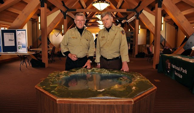 Lloyd and Larry Smith, two of the most influential figures in the history of Crater Lake.