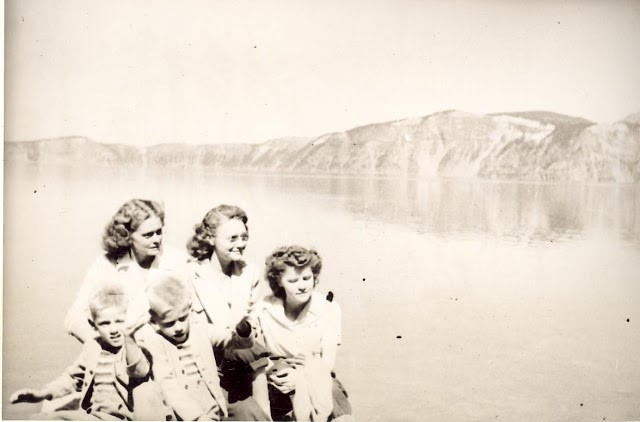 Bottom of Lake Trail, 1947 with mom, and cousin and aunt.