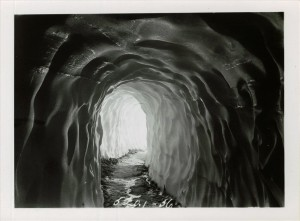 Snow Tunnel of road around The Watchman in Crater Lake NP, circa 1933. Dug by the CCC