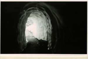 Snow Tunnel of road around The Watchman in Crater Lake NP, circa 1933. Tunneled by the CCC's