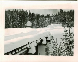 Snow-covered Annie Creek Bridge and buildings in Crater Lake NP, circa 1930 Frances Lange