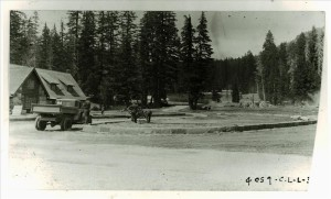 Soil preparation by CCC in parking ellipse at Park Headquarters in Crater Lake NP, 1934 Frances Lange