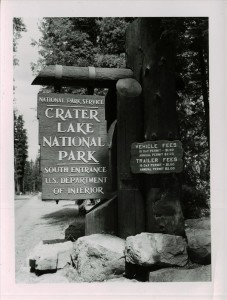 South Entrance Sign and Entrance Fees in Crater Lake NP, 1953 2