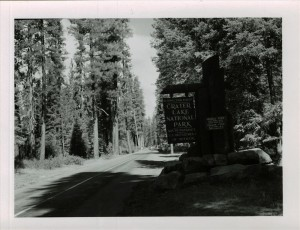 South Entrance Sign in Crater Lake NP, 1953