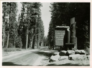 South Entrance Sign in Crater Lake NP (date unknown)