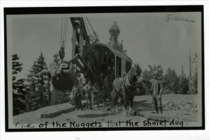 Steam shovel used during the construction of the first Rim Drive in Crater Lake NP, circa 1915 Parkhurst probably