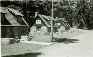 Stone Houses 32, 31, 30 in Crater Lake NP, circa 1950 with landscaping headquarters