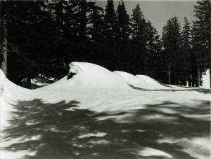 Stonehouses before spring snow removal in Crater Lake NP, 1974 John R. Davis