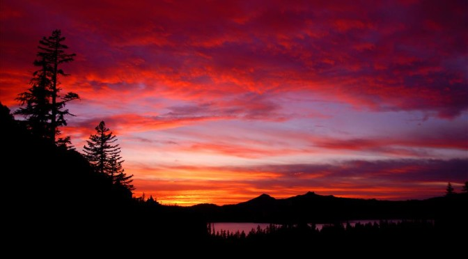 Sunset from Kerr Notch in Crater Lake NP, 2009
