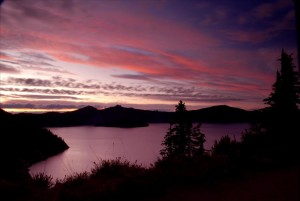 Sunset from Sun Notch in Crater Lake NP, 2009 Dave Harrison