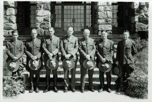 Supt. E. P. Leavitt and permanent uniformed staff. Left - Crouch, Frost, Foyles, Fitzgerald, Leavitt, Parker, Gilbert, and Ruhle Park HQ Grant Aug. 18, 1941