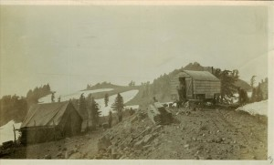 Temporary Camp 6 - Back of Watchman U.S. Engineers outpost in Crater Lake NP, 1917 sleeping quarters Church Wagon