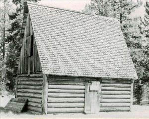 Tool shed in Crater Lake NP, 1941 near Lost Creek CG Grant photo Aug 19, 1941
