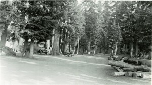 Visitors camped in the Rim Campground in Crater Lake NP, 1920s
