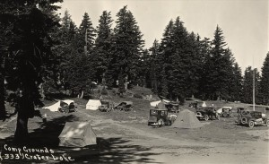 Visitors camping at the Rim Campground [Picnic Hill], likely prior to 1933.